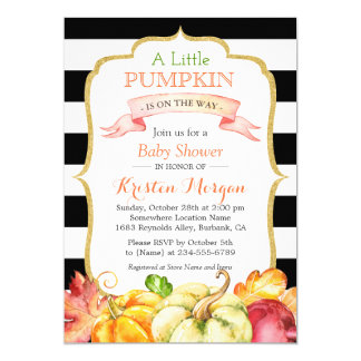 Little Pumpkin Autumn Stylish Fall Baby Shower Card