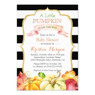little pumpkin autumn stylish fall baby shower card