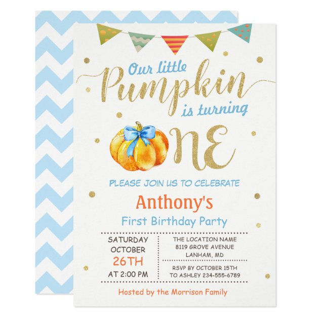 Little Pumpkin Baby Boy First Birthday Party Card