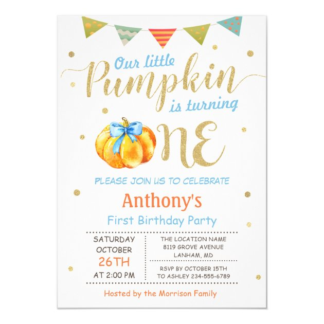 Little Pumpkin Baby Boy First Birthday Party Card (back side)