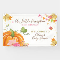 Little Pumpkin Baby Shower Banner Fall Autumn Girl
