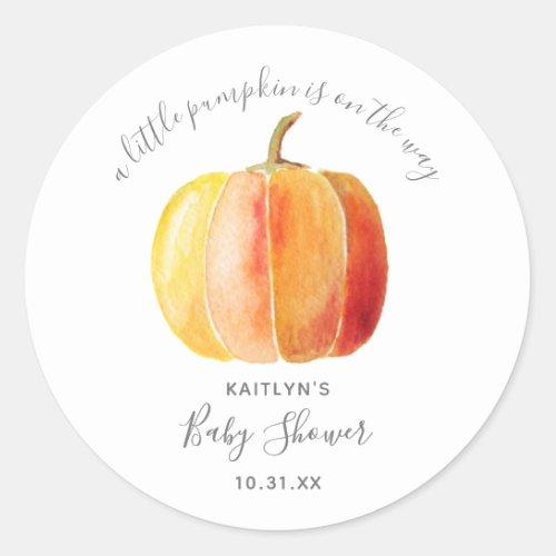 Little Pumpkin Baby Shower Classic Round Sticker