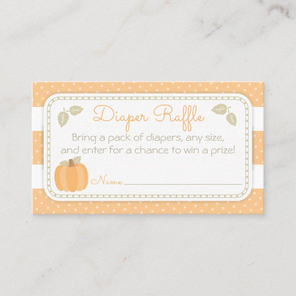 Little Pumpkin Baby Shower Diaper Raffle Ticket