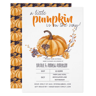 Little Pumpkin Baby Shower Fall Halloween Org/Purp Invitation