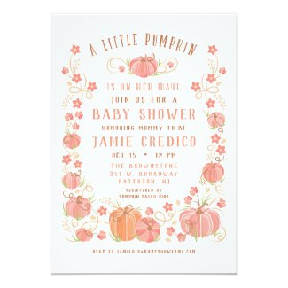 Little Pumpkin Baby Shower Girl Invitation