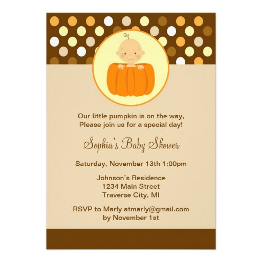little pumpkin baby shower invitation 5 x 7 invitation card zazzle