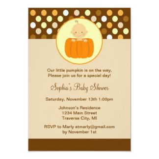 "Little Pumpkin Baby Shower Invitation 5"" X 7"" Invitation Card"