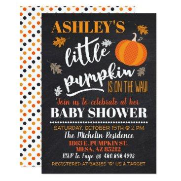 Halloween Themed Little Pumpkin Baby Shower Invitation