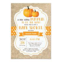 Little Pumpkin Baby Shower Invitation Card Burlap