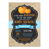 Little Pumpkin Baby Shower Invitation Card Burlap