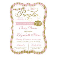 Little Pumpkin Baby Shower Invitation, Faux Gold Invitation