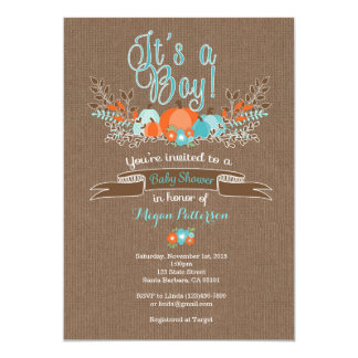 Little Pumpkin Baby Shower Invitation for Boy