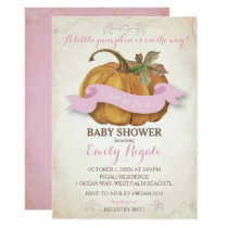Little Pumpkin Baby Shower Invitation - Girl