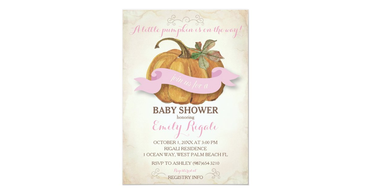 little pumpkin baby shower invitation girl zazzle