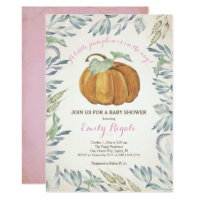 Little Pumpkin Baby Shower Invitation, Girl Invitation