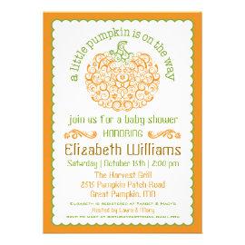 Little Pumpkin Baby Shower Invitation II Personalized Announcement