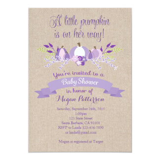 Little Pumpkin Baby Shower Invitation- Lavender Card