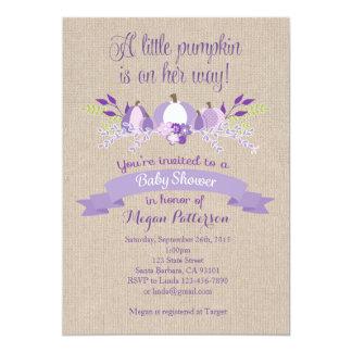 Little Pumpkin Baby Shower Invitation- Lavender Card