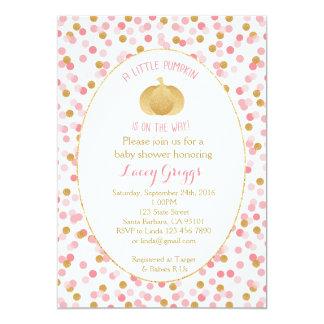 Little Pumpkin Baby Shower Invitation- Pink  Gold Card