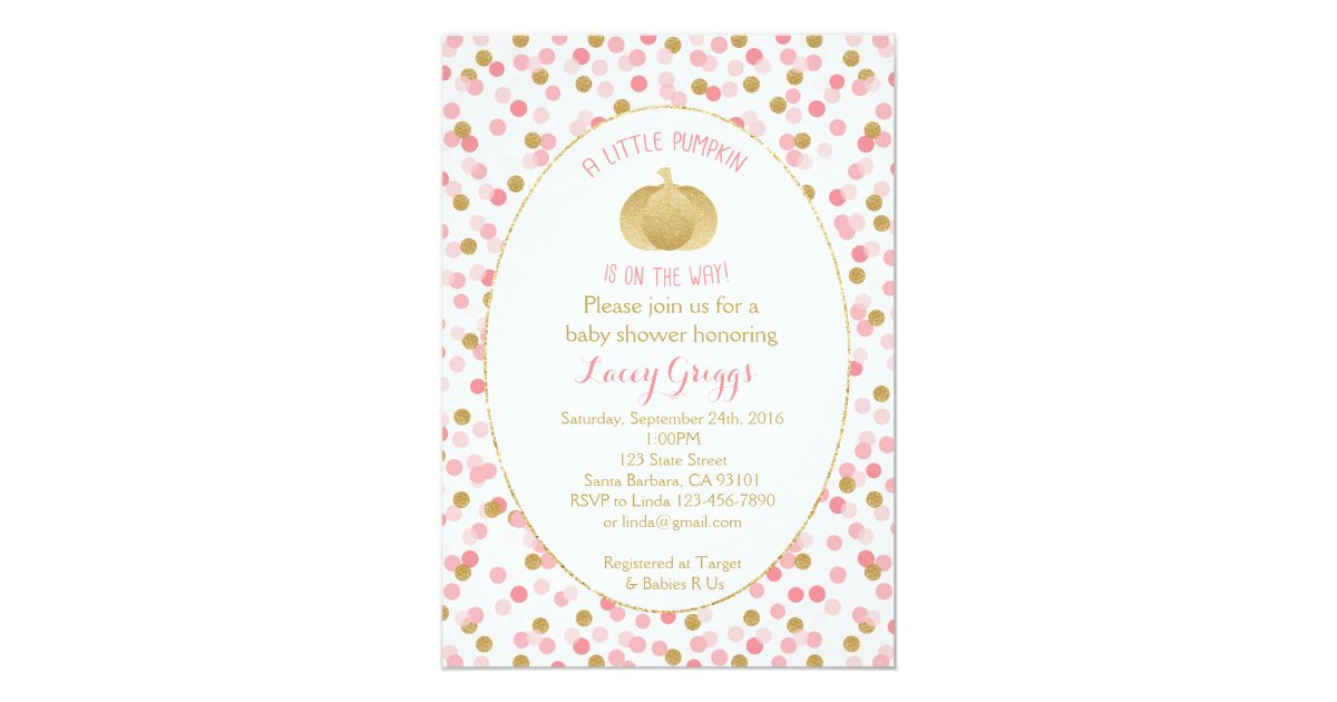 little pumpkin baby shower invitation pink gold card zazzle