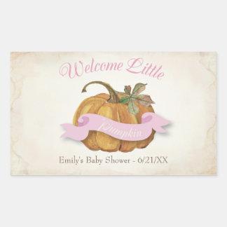 Little Pumpkin Baby Shower Label - Girl