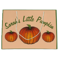 Little Pumpkin Baby Shower New Arrival Autumn Fall Large Gift Bag