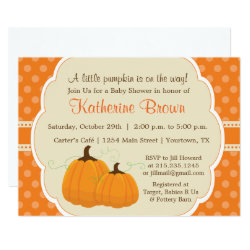 Little Pumpkin Baby Shower Party Invitation