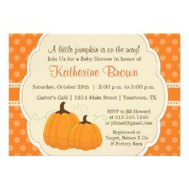 Little Pumpkin Baby Shower Party Invitation