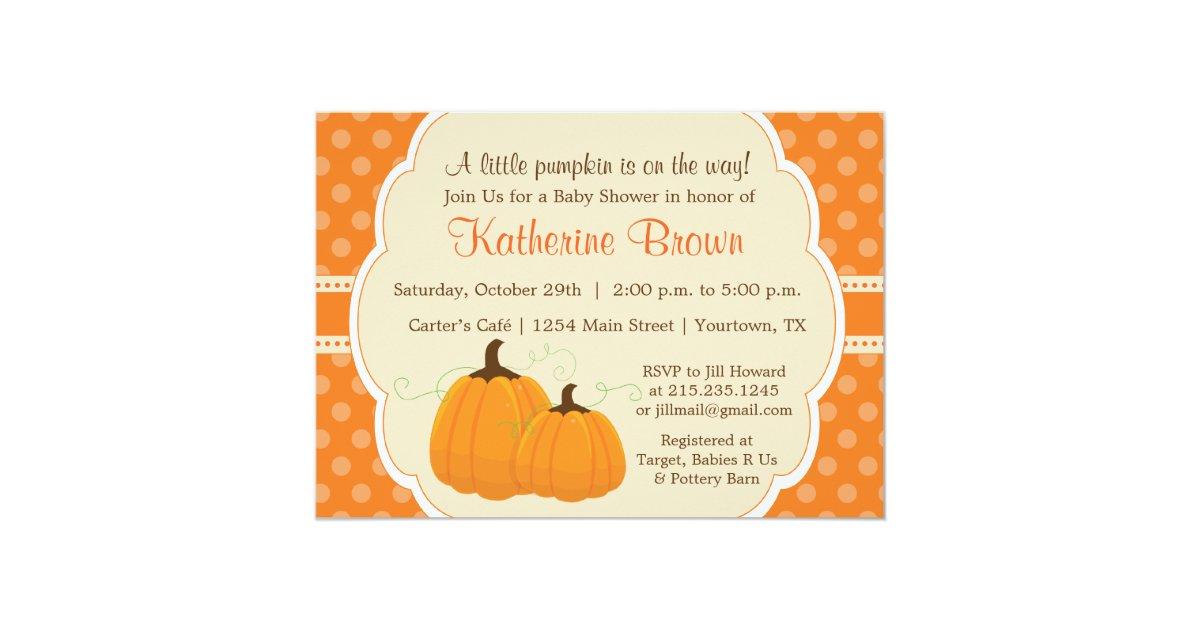 little pumpkin baby shower party invitation zazzle