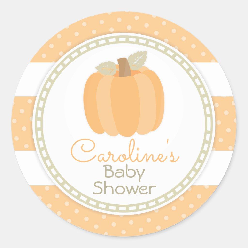 Little Pumpkin Baby Shower Round Sticker