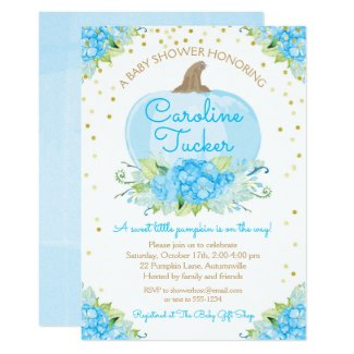 Little Pumpkin Baby Shower Watercolor Blue Gold Invitation