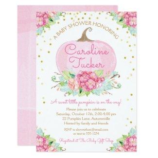 Little Pumpkin Baby Shower Watercolor Pink Gold Invitation