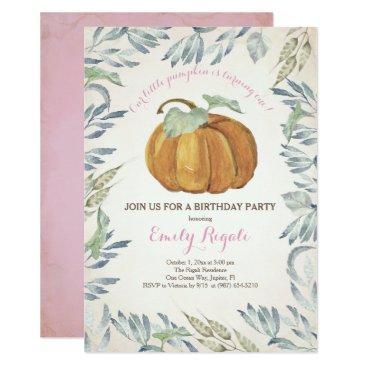 Halloween Themed Little Pumpkin BIRTHDAY PARTY Invitation, Girl Card