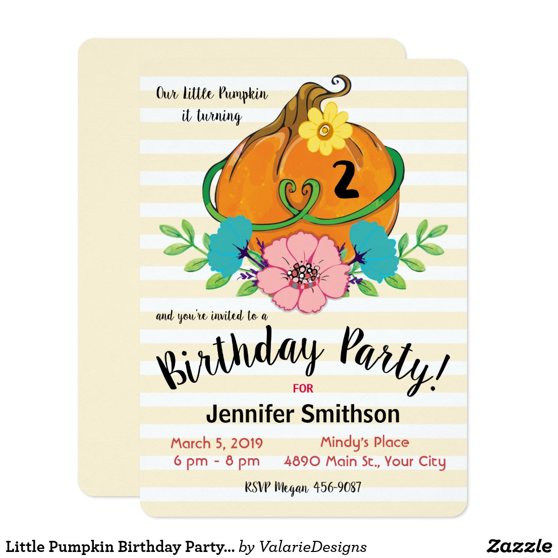 Little Pumpkin Birthday Party Invitations
