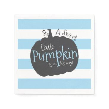 Halloween Themed Little Pumpkin Blue Baby Shower Napkins