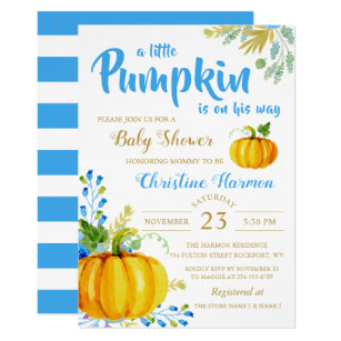 Thanksgiving baby shower invitations zazzle little pumpkin blue garden baby shower invitation filmwisefo