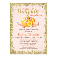 Little Pumpkin Blush Gold Glitter Fall Baby Shower Invitation