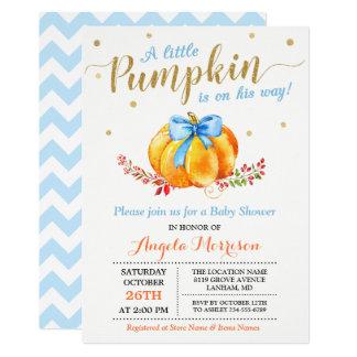 Little Pumpkin Boy Gold Blue Fall Baby Shower Card