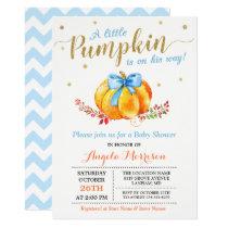 Little Pumpkin Boy Gold Blue Fall Baby Shower Invitation