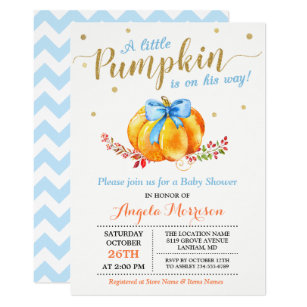 Save 60 on fall baby shower invitations limited time only zazzle little pumpkin boy gold blue fall baby shower invitation filmwisefo