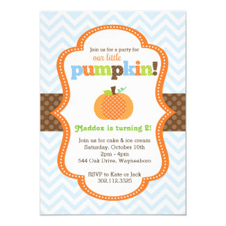 Little Pumpkin (Boy's) Birthday Party Invitation