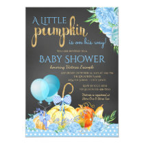 Little Pumpkin Chalkboard Boys Fall Baby Shower Card