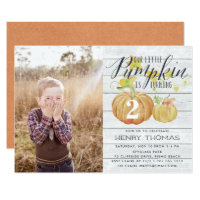 Little Pumpkin Custom Age Birthday Party Photo Invitation