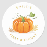 Little pumpkin Envelope seal sticker Birthday Girl
