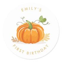 Little pumpkin Envelope seal sticker Birthday Girl