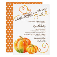 Little Pumpkin Fall Autumn Baby Shower Invitation