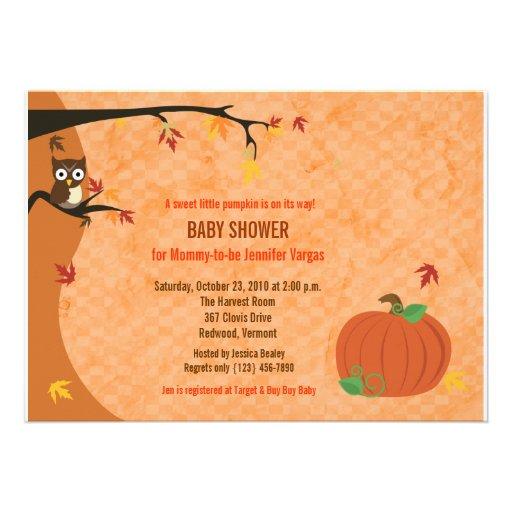 Little Pumpkin Fall Autumn Baby Shower Invitation
