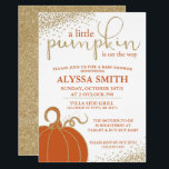 """Little Pumpkin Fall Baby Shower Invitation<br><div class=""""desc"""">A little pumpkin is on the way and this invitation is the perfect way to say it! The orange and faux gold glitter are the perfect combination for a fall baby shower.</div>"""