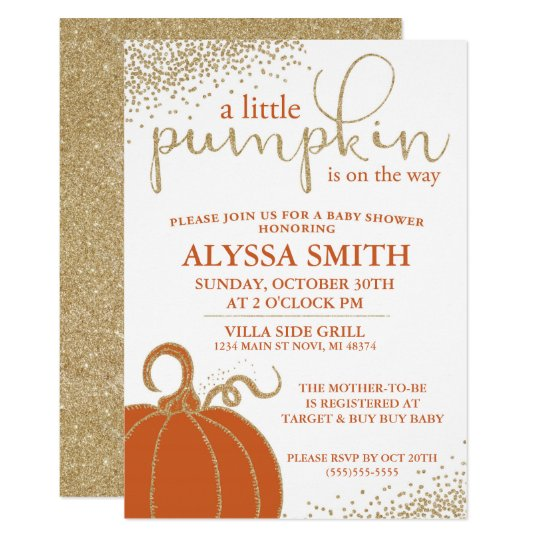 little pumpkin fall baby shower invitation zazzle com