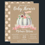 "Little Pumpkin Fall Baby Shower Invitation Girl<br><div class=""desc"">This pumpkin invitation is perfect for your Fall/Autumn baby shower celebration!</div>"